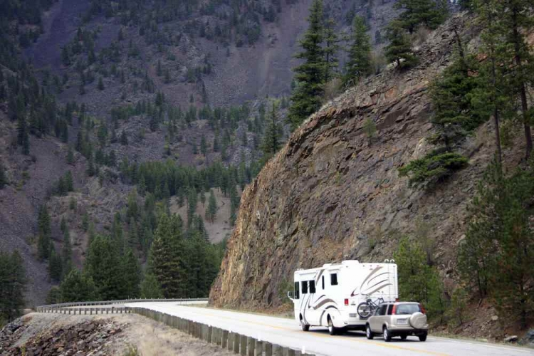 RV on a mountain road
